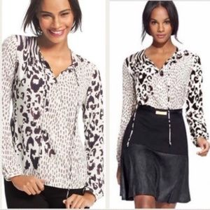CAbi Animal Print Crossover Faux Wrap Top